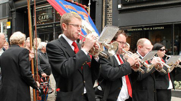 Outside interests: Playing in a brass band